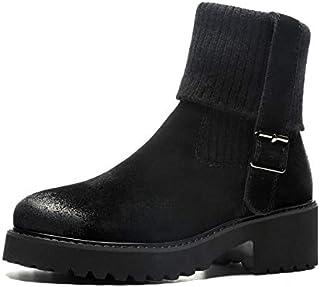 la mejor oferta de tienda online HAOLIEQUAN botas De Tobillo Tobillo Tobillo para Mujer Resbalón En Zapatos De Mujer Tacón Cuadrado All Match Negro botas De Invierno Zapatos De Mujer botas para Mujer Tamao 34-39  barato