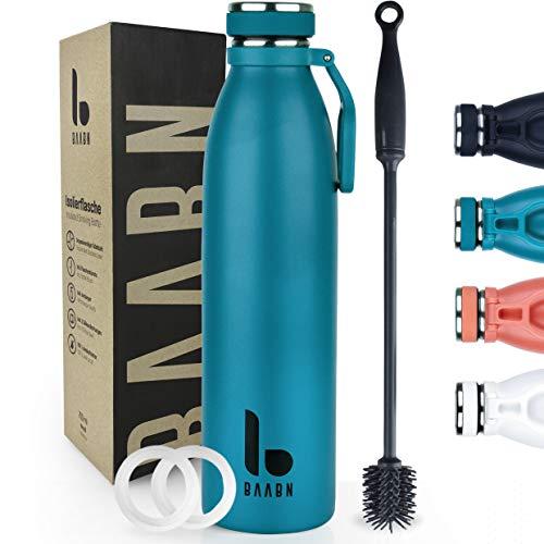 BAABN Trinkflasche Edelstahl Thermosflasche 500ml, 750ml, 1L - Auslaufsicher - Isolierflasche doppelwandig für Camping, Wandern, Fitness, Kinder, Geschenk - Inkl. Flaschenbürste & 2 Silikondichtungen.
