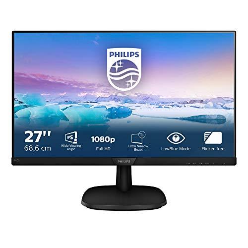 "Philips 273V7QJAB Monitor 27"" LED IPS Full HD, 4ms, 3 Side Frameless, Low Blue Mode, Flicker Free, HDMI, Display Port, VGA, VESA, Audio Integrato, Nero"