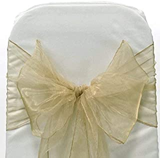 Sarvam Fashion Set of 10 Chair Bows Sashes Tie Back Decorative Item Cover ups for Wedding Reception Events Banquets Chairs Decoration (Champagne)