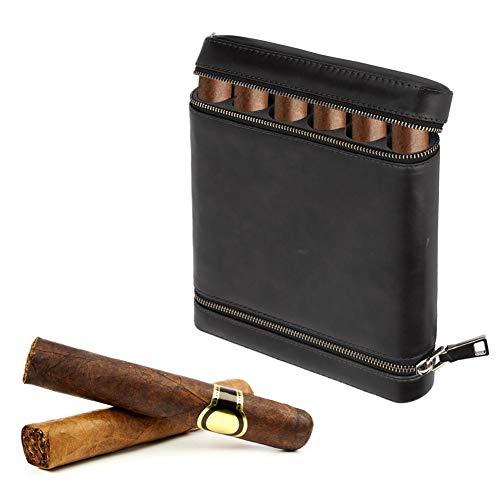 Garosa Zigarren Humidor Reise Outdoor Humidor Fall Zedernholz ausgekleidet 6 Zigarren Humidor Portable Light Weight Cigar Box Geschenk-Set(Black)