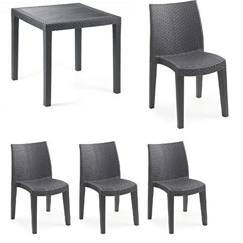 Tomaino Set 4 sedie e 1 Tavolo in plastica Simil Rattan