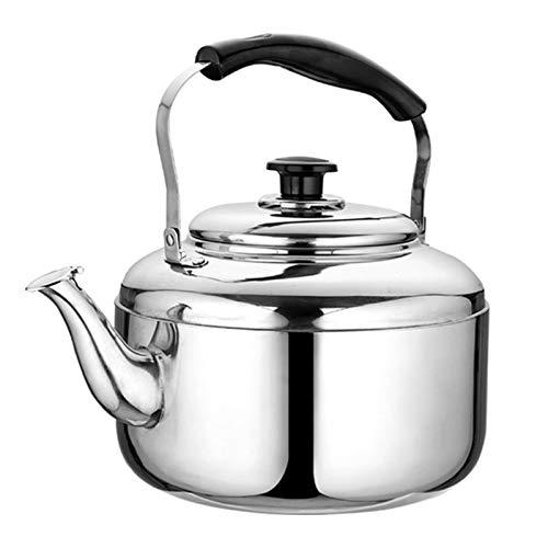 Hervidor de té con Silbido, Estufa de Carbón de Gas Electromagnético Ergonómico de Acero Inoxidable, Tetera Grande General (Color : Silver, tamaño : 7L)