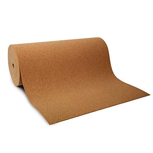 Korkplatte Meterware - auch in XXL-Größe, Kork als Rolle - viele Stärken - schall- und wärmedämmend, stoßdämpfend, formaldehydfrei - Korkmatte Korkrolle (100x600 cm, Stärke 2 mm)