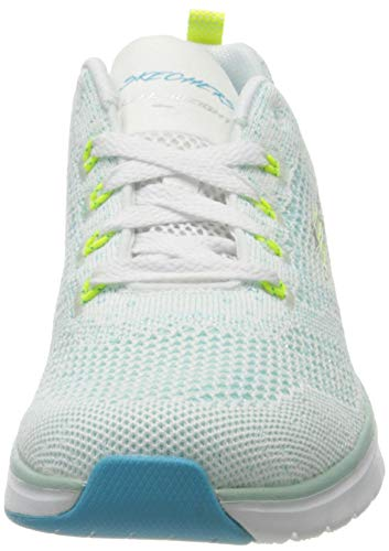 Skechers Ultra Groove, Zapatillas Mujer, Blanco (White & Turquoise Knit Mesh/Lime Trim Wtql), 39 EU
