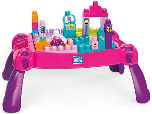 Mega Bloks La Table d'Apprentissage rose avec blocs de construction et 2 véhicules,...