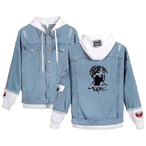 HUIZE Hip Hop Rap 2Pac Denim Sweatshirt Denim Hoodie Männer Und Frauen Plus Fleece Hooded Sweater Jogger Tupac Lässiges, Lockeres Paar (XS-4XL)