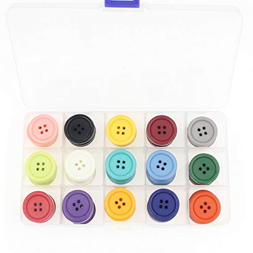 1 pulgada (25 mm) Costura Flatback Botones de resina para bricolaje Craft 15 colores Paquete múltiple de 90 con caja (cada color 6 pzas) Leekayer