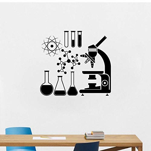 Mikroskop Wissenschaftler Vinyl Wandaufkleber Chemie Abziehbilder Labor Wasserdicht Wandbild Dekor Jungen Mädchen Zimmer Klassenzimmer 61x56cm