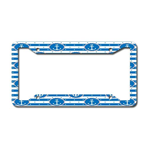 Canal Blue Anchor License Plate Frame, Decorative Car Front, Metal Car Plate, License Plate, Vanity Tag, Aluminum Noverlty License Plate for Men/Women/Boy/Girls Car 6.3 X 12.2 Inch