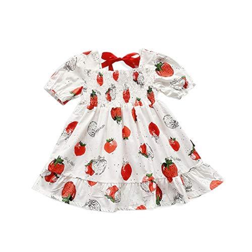 Allskid 0-4 años de Edad Bebé Niñas Vestidos Verano Manga Burbuja Dulce Fresa Patrón Ruffle Vestir Girls Dresses (90, Blanco)