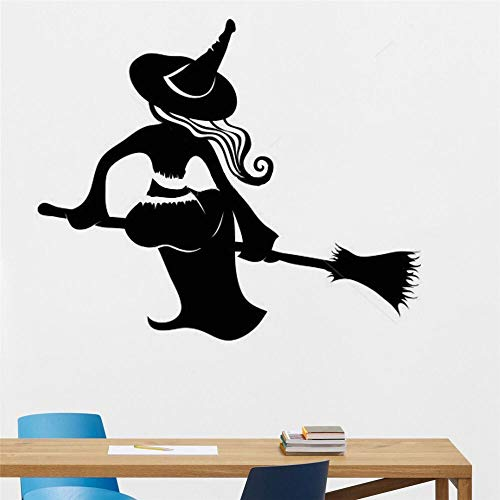 Sticker kunst aan de muur Witch Muurtattoo Hoed Van Heksen Op Bezem Halloween Decoratie Decor Wall Art Gothic Decor Van De Muur Verwijderbare Vinyl Wall Stickers (Color : Black)