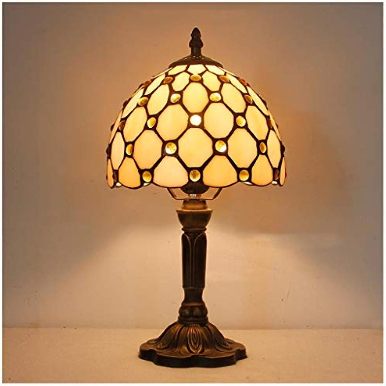 CJW Mediterrane Vintage Wohnzimmer-Tischlampe - Bar-Schlafzimmer-Perle 20 cm (8 Zoll)
