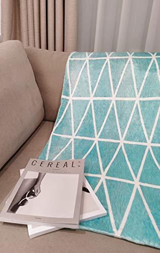 Xlabor - Manta de forro polar suave de piel de cordero, manta de peluche, manta de sofá, manta de lana, colcha D-Mint Geometría 100 x 150 cm