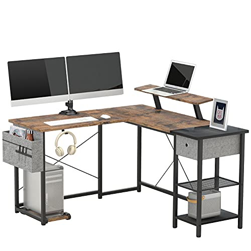L Shaped Computer Desk for Home Office,L Shaped Desk with Drawer,Storage Shelves,Headphone Hook,Removable CPU Stand and Cable Management,SUAYLLA 2 Person Long Table for Gaming Writing Workstation