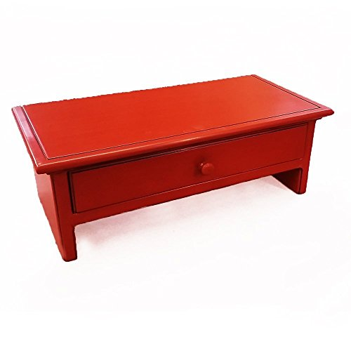 Wood Monitor Stand with Drawer and Cubby with PAINTED AND GLAZED FINISH - Small