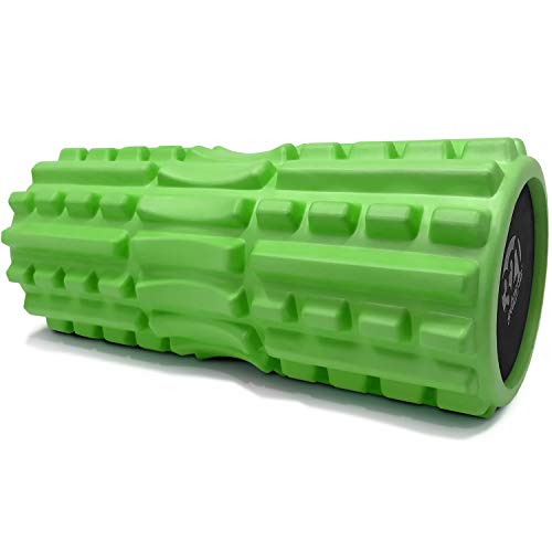 321 STRONG Foam Roller - Extra Firm High Density Deep Tissue Massager with Spinal Channel, for Muscle Massage and Myofascial Trigger Point Release, with 4K eBook - Green