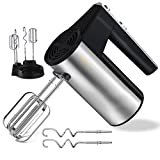 CLORIS Hand Mixer, 300W Ultra Power Handheld Mixer Electric Whisk with Turbo Heavy Duty Motor, Storage Stand for Cookies, Brownies, Cakes, Dough, Batters (Silver)