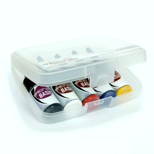 Senjo Color ® Airbrush Farben Set (Für Gesicht & Körper) Dermatologisch getestete Farben (5 x15ml) Farben: Schwarz, Weiß, Rot, Gelb & Blau