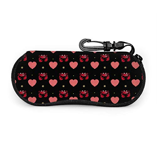 sherry-shop Étui à lunettes de soleil Angry Cartoon Crabs Red With White Plaid Heart Travel Soft Neoprene Zipper Eyeglass Bag