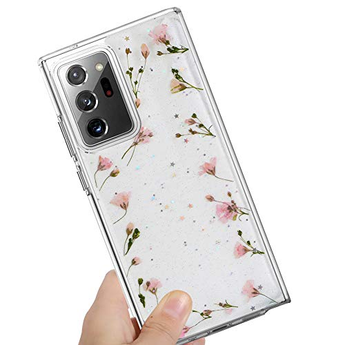 MZELQ Samsung Galaxy Note 20 Ultra Case Flower, Girls Floral Pressed Dry Real Flowers Case Soft Clear Flexible Silicone Rubber Cover for Galaxy Note 20 Ultra 6.9 Inch 2020 - Pink