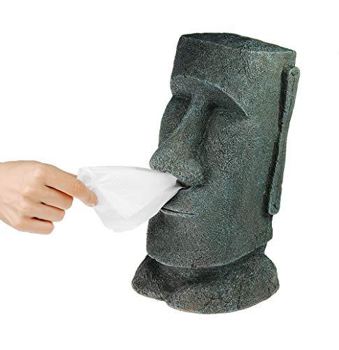 Monsterzeug Taschentuchbox Moai Figur, Steingesicht Osterinseln, Origineller Taschentuchspender, Badutensilien, Wohn-Dekoration