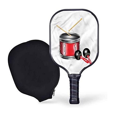 Caesar Decor Maracas Pickleball Paddle Set,Drums with Sticks Carnival Lightweight Graphite/Carbon Fiber Face & Polypropylene Honeycomb Composite Core Paddles Sets Including Racket Cover