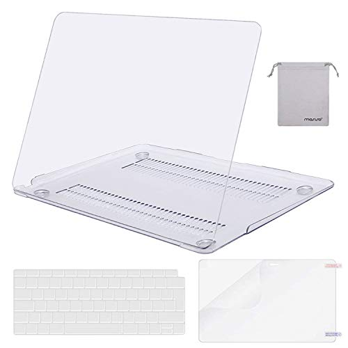 MOSISO MacBook Air 13 inch Case 2020 2019 2018 A2337 M1 A2179 A1932, Plastic Hard Shell&Keyboard Cover&Screen Protector&Storage Bag Compatible with MacBook Air 13 inch Retina, Crystal Clear