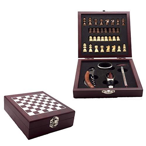 InnovaGoods Zubehör-Set für Wein und Schach, Holz und Edelstahl, braun, 15 x 5 x 17 cm