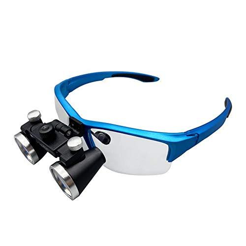 JHYM Cirugía 3,5X lupas binoculares Lupa, Profesional 420mm lupas dentales quirúrgico con Diadema Flexible, Destornillador - Cerca de Trabajo de Costura de reparación de joyería,Azul