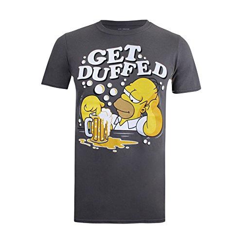 Simpsons Get Duffed Camiseta, Gris (Charcoal CHA), L para Hombre