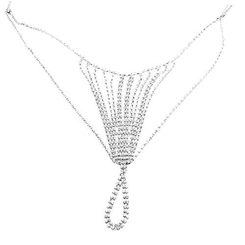 Oulensy Sexy Chain Body Jewellery Cintura Simple Día de San Valentín Rhinestone Ropa Interior Cadena de Vientre Tanga de Cristal para Mujer
