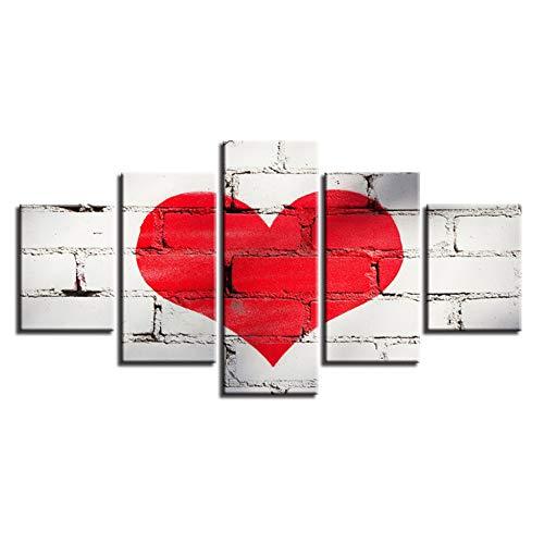 YIYAOFBH kanvasbilder inredning röd kärlek hjärta graffiti målning vardagsrum söt affisch väggkonst – 40 x 60 cm x 2 40 x 80 cm x 2 40 x 100 cm ingen ram