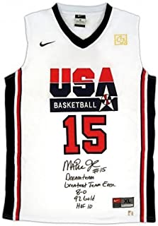 Magic Johnson Signed Jersey - Official White USA 5 Stat