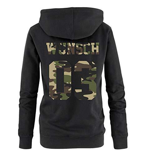 Comedy Shirts - Wunsch - Damen Hoodie - Schwarz/Camouflage I - Gr. M