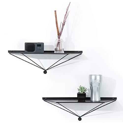 J JACKCUBE DESIGN Estante de pared de metal / estantes flotantes, estante organizador colgante para sala de estar, baño, cocina (negro, trapezoidal) – MK486A