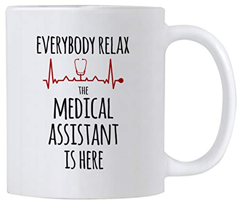 Casitika Medical Assistant Gifts. 11 oz Everybody Relax The Medical Assistant is Here Coffee Mug. Gift idea for Certified Assistants, Teachers or Students.