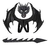 ADosdnn Disfraz de carnaval de demonio de alas de dragón y cola de dragón Negro 60 cm