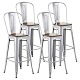 Mecor Metal Bar Stools Set of 4 w/ Removable Backrest , 30'' Dining Counter Height Chairs with Wood Seat (Silver)