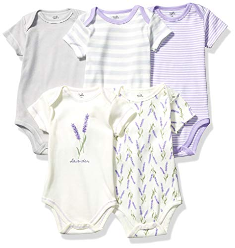 Touched by Nature Unisex Baby Organic Cotton Bodysuits, Lavender, 9-12 Months