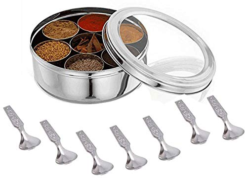 Stainless Steel Spice box with Non Breakable Transparent glass,Stainless Steel Spice Box with 7 container and 2 spoons,Spice Box,Size 12 No,Color-Silver