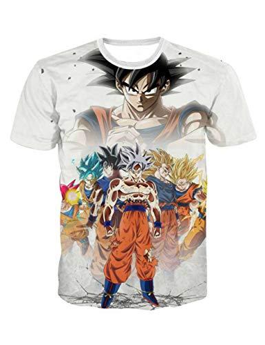 T-Shirt Dragon Ball Z Homme, Unisexe Femme DBZ Super Goku 3D Imprimé Graphic Tee Shirt Enfant Fille Garçon Sport Rigolo Eté Anime Japonais T Shirt Tops (A1,S)