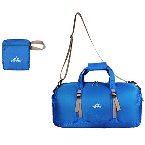 TOFINE Sports Equipment Foldable Weekend Travel Luggage Duffle Bag for Men Blue 25L