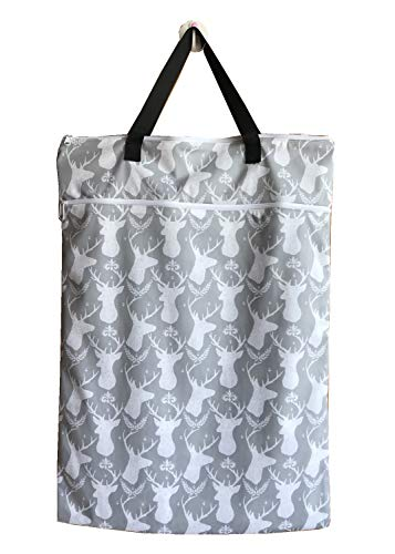 MUMBABY 1 Piece Large Hanging Wet/Dry Cloth Diaper Pail Bags for Reusable Diapers or Laundry (64 * 45, Deer Head)