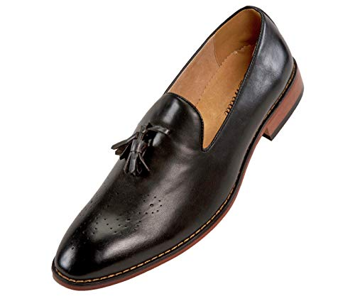 Amali The Original Mens Classic Slip On Dress Shoes with Smooth Burnished Slip and Embossed Moc Toe Loafers Black