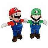 Super Mario Bros Plush 14 Inch/33cm Mario Luigi 2pcs Doll Stuffed Animals Figure Soft Anime Collection Toy