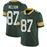 WLLIT NFL Football Jersey Packers # 12 Rodgers 52 21 87 Nelson Camiseta de fútbol de Manga Corta Para Hombre, Camiseta Deportiva de Manga Corta-C5-XXXL