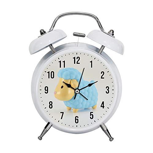 PGTASK Despertador infantil retro con manecillas silenciosas, reloj despertador, luz nocturna, decoración del hogar, ovejas azules y amarillas, juguete de plástico