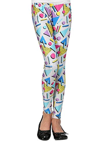 80s Party Girl Leggings for Women with Memphis Geometric Shapes Print, S, M, L, XL
