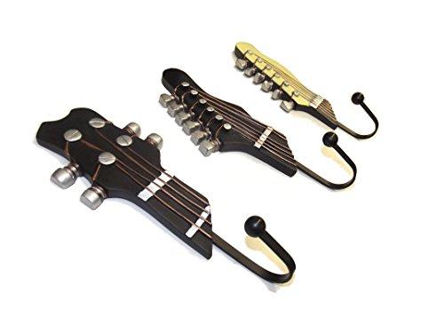 Juego de 3 ganchos de pared retro de metal, diseño de guitarra, perchero, montaje en pared